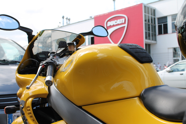 Parked out front the Ducati factory