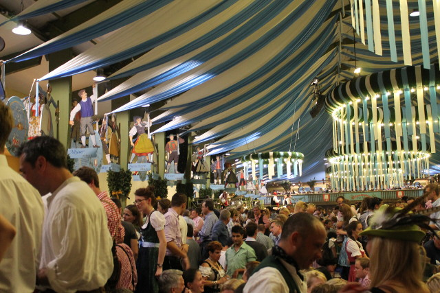 Inside one of the huge beer tents