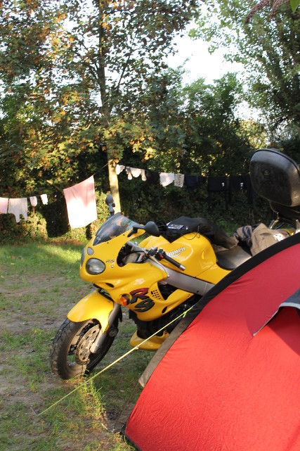 The Triumph in the sun with the clothes drying